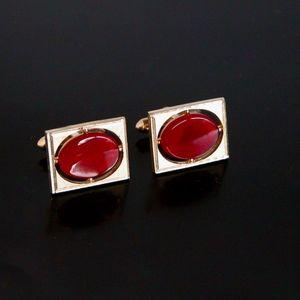 Vtg SWANK Cufflinks Jeweled Red Stone & Gold Tone
